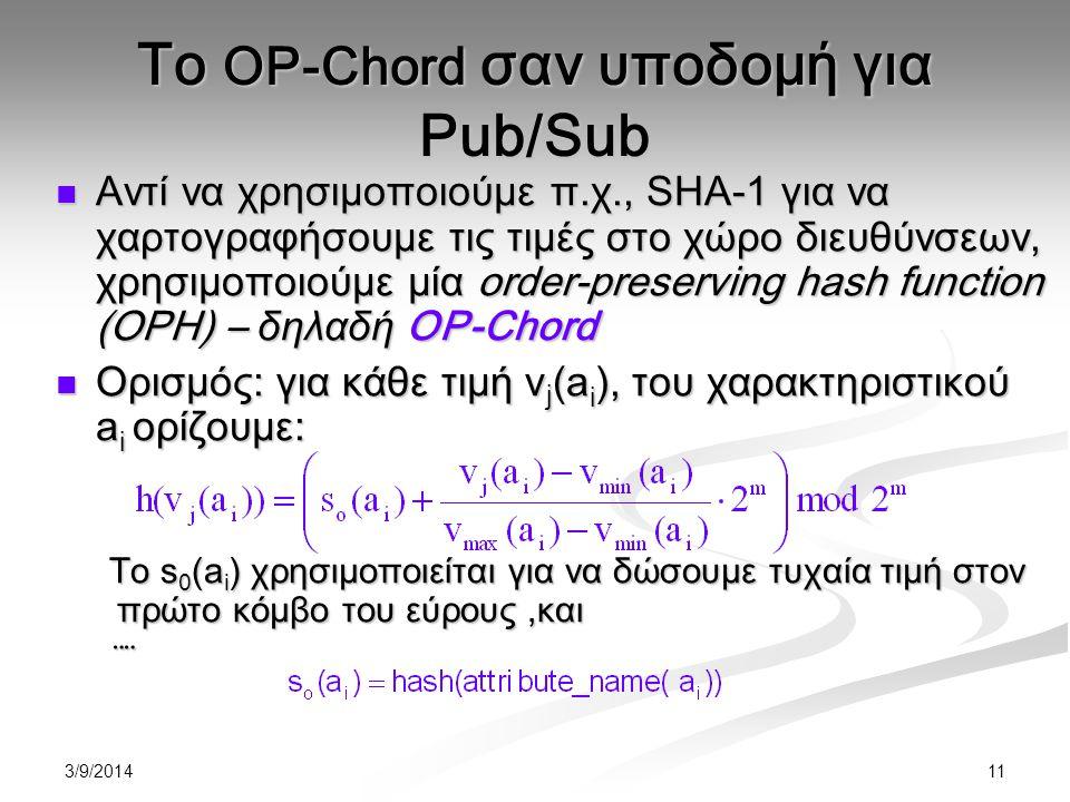 3/9/2014 11 Αντί να χρησιμοποιούμε π.χ., SHA-1 για να χαρτογραφήσουμε τις τιμές στο χώρο διευθύνσεων, χρησιμοποιούμε μία order-preserving hash function (OPH) – δηλαδή OP-Chord Αντί να χρησιμοποιούμε π.χ., SHA-1 για να χαρτογραφήσουμε τις τιμές στο χώρο διευθύνσεων, χρησιμοποιούμε μία order-preserving hash function (OPH) – δηλαδή OP-Chord Ορισμός : για κάθε τιμή v j (a i ), του χαρακτηριστικού a i ορίζουμε : Ορισμός : για κάθε τιμή v j (a i ), του χαρακτηριστικού a i ορίζουμε : Το s 0 (a i ) χρησιμοποιείται για να δώσουμε τυχαία τιμή στον πρώτο κόμβο του εύρους,και ¨¨ Το OP-Chord σαν υποδομή για Pub/Sub