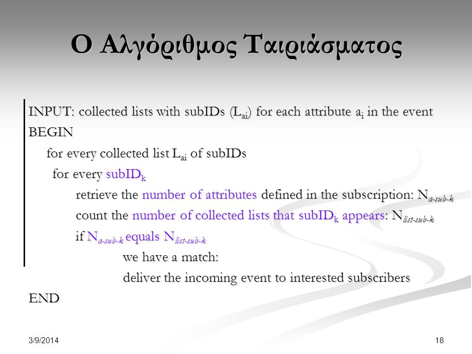 3/9/2014 18 Ο Αλγόριθμος Ταιριάσματος INPUT: collected lists with subIDs (L ai ) for each attribute a i in the event BEGIN for every collected list L ai of subIDs for every subID k retrieve the number of attributes defined in the subscription: N a-sub-k count the number of collected lists that subID k appears: N list-sub-k if N a-sub-k equals N list-sub-k we have a match: deliver the incoming event to interested subscribers END