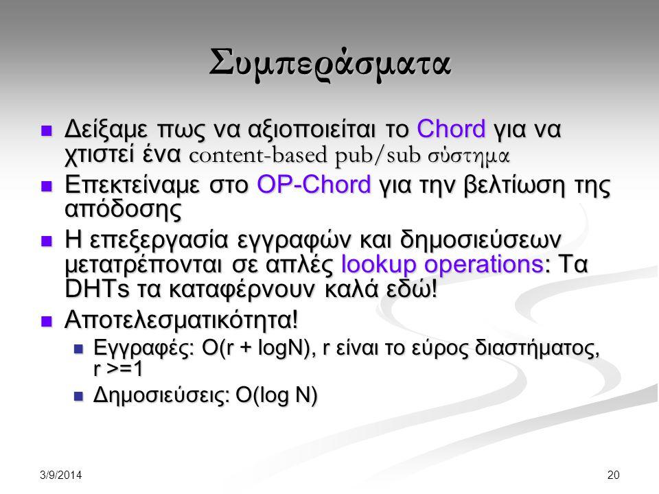 3/9/2014 20 Συμπεράσματα Δείξαμε πως να αξιοποιείται το Chord για να χτιστεί ένα content-based pub/sub σύστημα Δείξαμε πως να αξιοποιείται το Chord για να χτιστεί ένα content-based pub/sub σύστημα Επεκτείναμε στο OP-Chord για την βελτίωση της απόδοσης Επεκτείναμε στο OP-Chord για την βελτίωση της απόδοσης Η επεξεργασία εγγραφών και δημοσιεύσεων μετατρέπονται σε απλές lookup operations: Τα DHTs τα καταφέρνουν καλά εδώ.