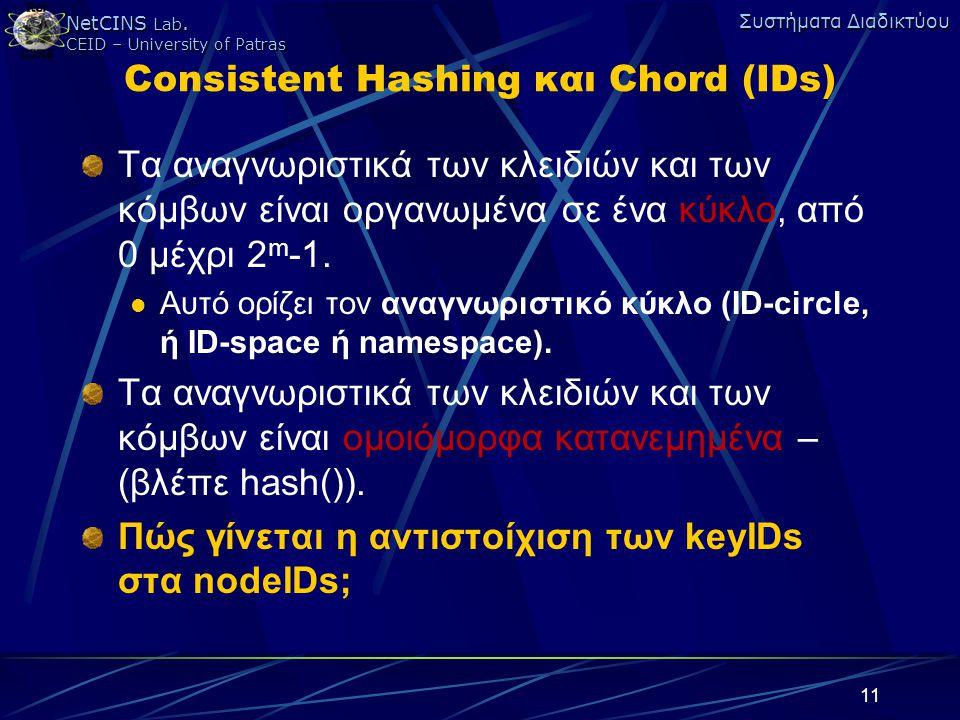 NetCINS Lab. CEID – University of Patras Συστήματα Διαδικτύου 11 Consistent Hashing και Chord (IDs) Τα αναγνωριστικά των κλειδιών και των κόμβων είναι