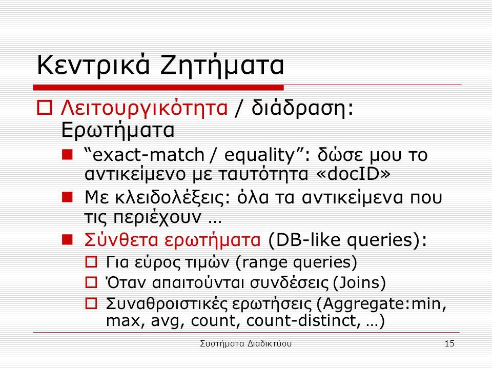 """Συστήματα Διαδικτύου15 Κεντρικά Ζητήματα  Λειτουργικότητα / διάδραση: Ερωτήματα """"exact-match / equality"""": δώσε μου το αντικείμενο με ταυτότητα «docID"""