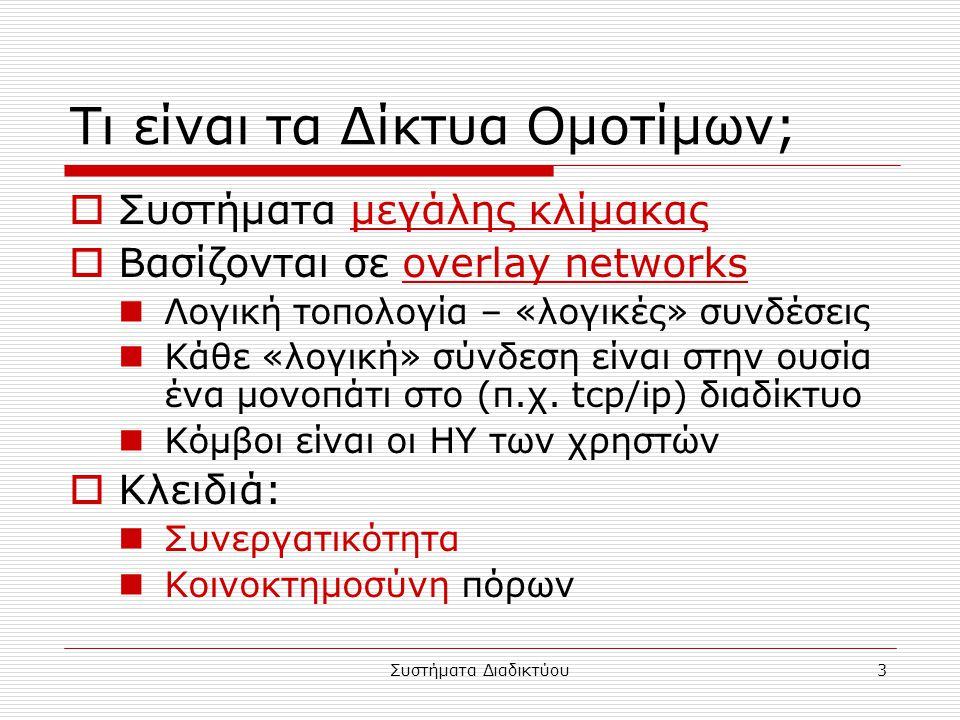 Συστήματα Διαδικτύου3 Τι είναι τα Δίκτυα Ομοτίμων;  Συστήματα μεγάλης κλίμακας  Βασίζονται σε overlay networks Λογική τοπολογία – «λογικές» συνδέσεις Κάθε «λογική» σύνδεση είναι στην ουσία ένα μονοπάτι στο (π.χ.