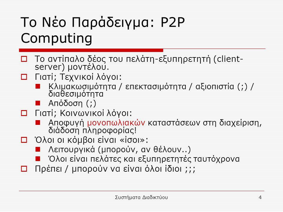 Συστήματα Διαδικτύου5 Οι πόροι ενός P2P Network  Επεξεργαστές στους κόμβους χρηστών  Αποθηκευτικά μέσα στους κόμβους χρηστών  Επικοινωνιακά μέσα (bandwidth)  Αρχεία / πληροφορία  Αξιοποίησε τα παραπάνω για τον επιτυχή διαμοιρασμό/διανομή πληροφορίας (και γενικά «πόρων»).