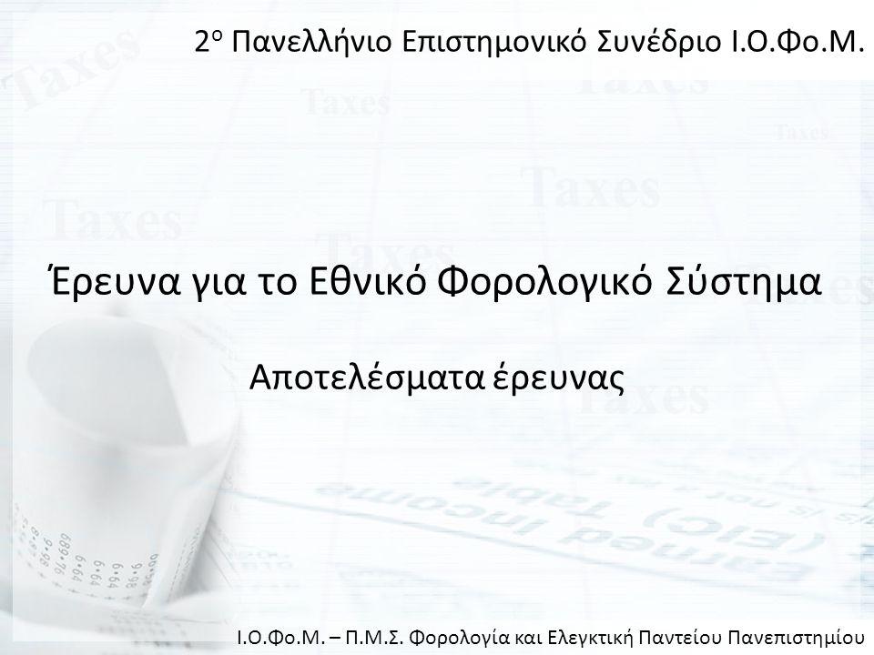 Έρευνα για το Εθνικό Φορολογικό Σύστημα Αποτελέσματα έρευνας 2 ο Πανελλήνιο Επιστημονικό Συνέδριο Ι.Ο.Φο.Μ. Ι.Ο.Φο.Μ. – Π.Μ.Σ. Φορολογία και Ελεγκτική