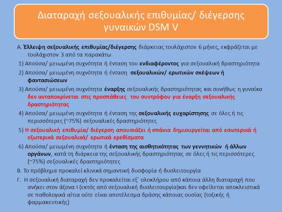 Διαταραχή σεξουαλικής επιθυμίας/ διέγερσης γυναικών DSM V Α. Έλλειψη σεξουαλικής επιθυμίας/διέγερσης διάρκειας τουλάχιστον 6 μήνες, εκφράζεται με τουλ
