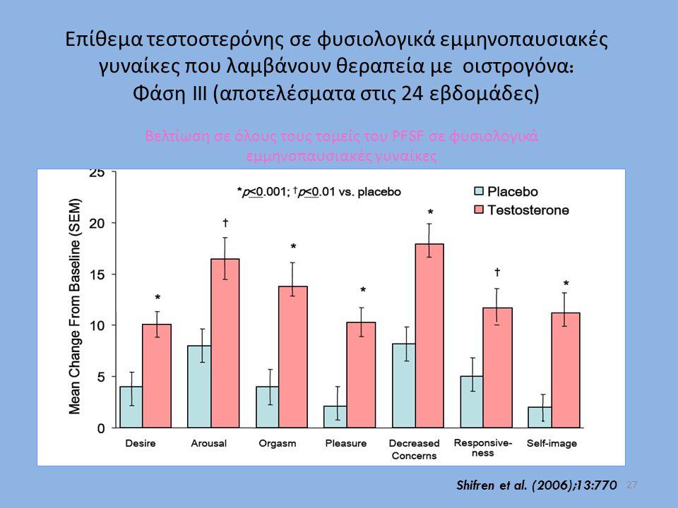 Επίθεμα τεστοστερόνης σε φυσιολογικά εμμηνοπαυσιακές γυναίκες που λαμβάνουν θεραπεία με οιστρογόνα : Φάση III (αποτελέσματα στις 24 εβδομάδες) Βελτίωσ