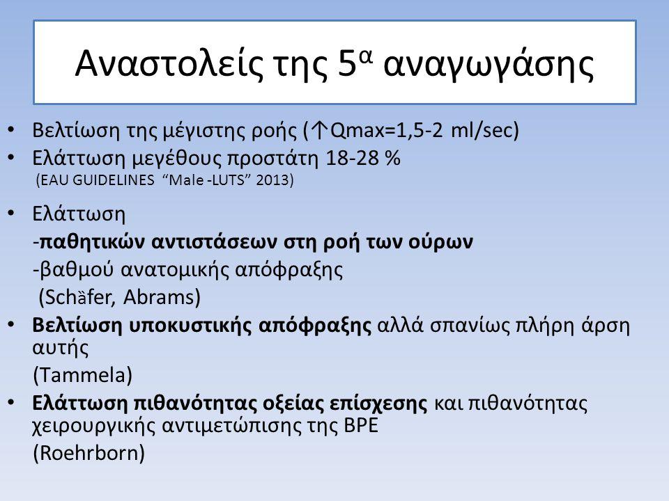 Αναστολείς της 5 α αναγωγάσης Βελτίωση της μέγιστης ροής (↑Qmax=1,5-2 ml/sec) Eλάττωση μεγέθους προστάτη 18-28 % Ελάττωση -παθητικών αντιστάσεων στη ρ