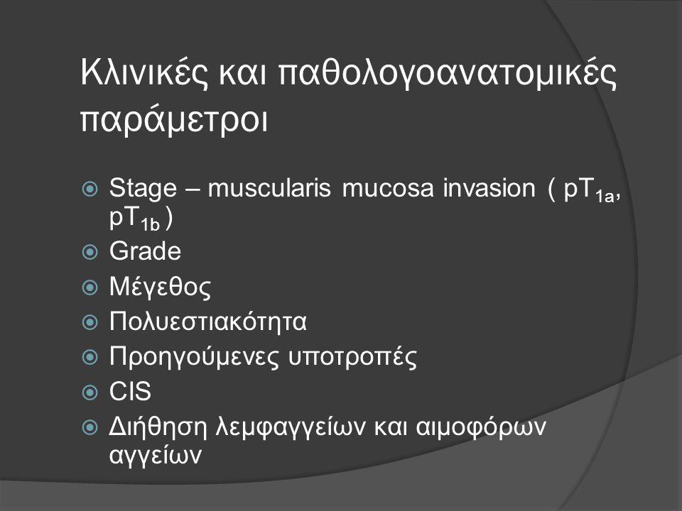 Κλινικές και παθολογοανατομικές παράμετροι  Stage – muscularis mucosa invasion ( pT 1a, pT 1b )  Grade  Μέγεθος  Πολυεστιακότητα  Προηγούμενες υποτροπές  CIS  Διήθηση λεμφαγγείων και αιμοφόρων αγγείων