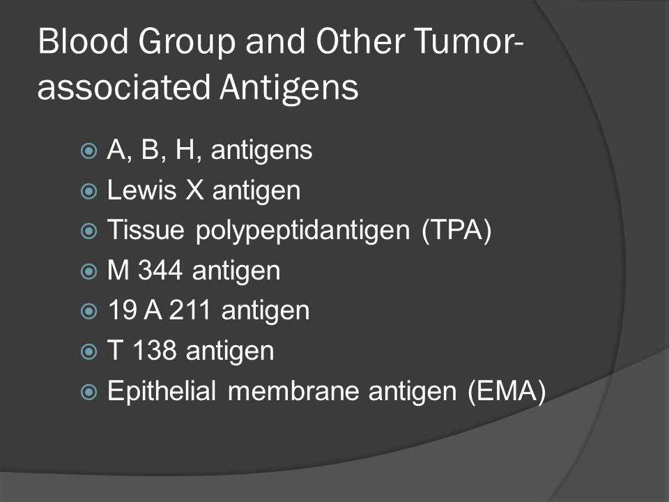 Blood Group and Other Tumor- associated Antigens  A, B, H, antigens  Lewis X antigen  Tissue polypeptidantigen (TPA)  M 344 antigen  19 A 211 ant