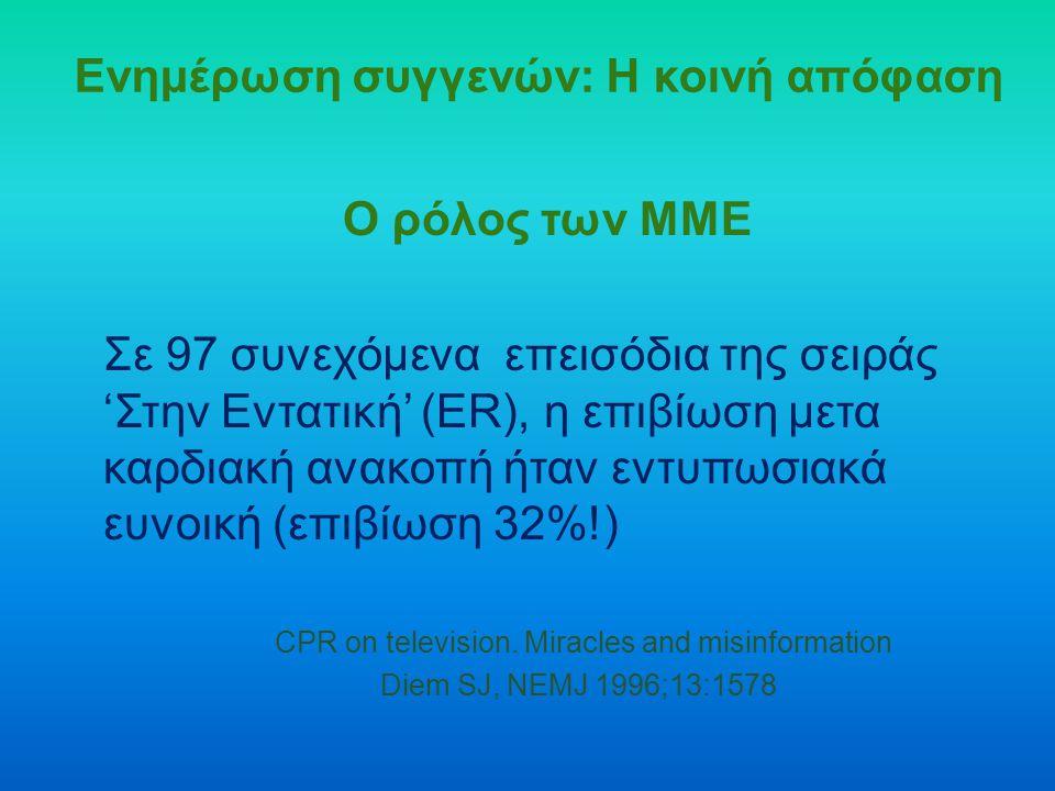 Ενημέρωση συγγενών: Η κοινή απόφαση Ο ρόλος των ΜΜΕ Σε 97 συνεχόμενα επεισόδια της σειράς 'Στην Εντατική' (ER), η επιβίωση μετα καρδιακή ανακοπή ήταν