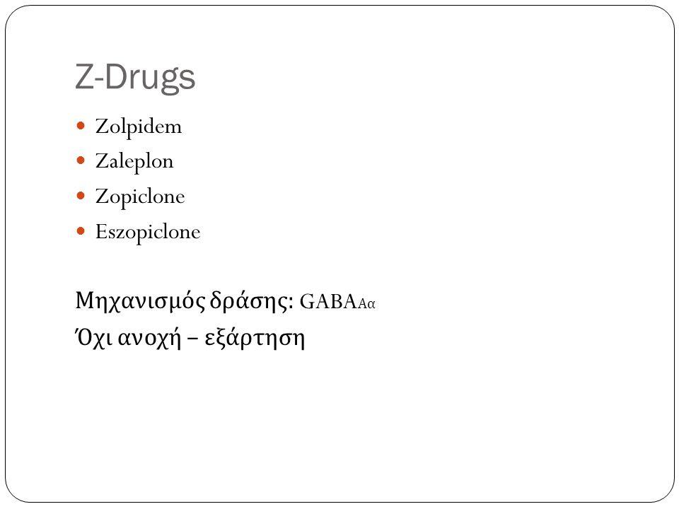 Z-Drugs Zolpidem Zaleplon Zopiclone Eszopiclone Μηχανισμός δράσης : GABA Αα Όχι ανοχή – εξάρτηση