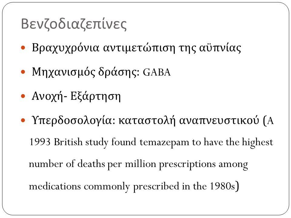 Βενζοδιαζεπίνες Βραχυχρόνια αντιμετώπιση της αϋπνίας Μηχανισμός δράσης : GABA Ανοχή - Εξάρτηση Υπερδοσολογία : καταστολή αναπνευστικού (A 1993 British