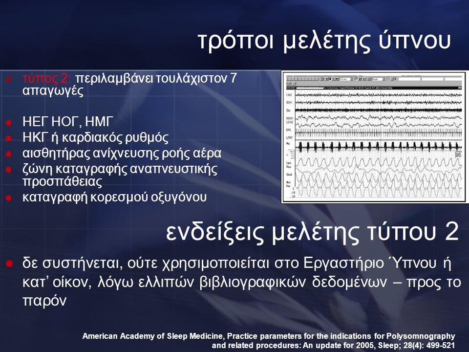 τρόποι μελέτης ύπνου τύπος 2: περιλαμβάνει τουλάχιστον 7 απαγωγές ΗΕΓ ΗΟΓ, ΗΜΓ ΗΚΓ ή καρδιακός ρυθμός αισθητήρας ανίχνευσης ροής αέρα ζώνη καταγραφής