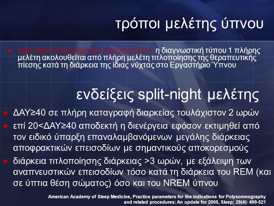 τρόποι μελέτης ύπνου split-night (διαιρούμενης νύχτας) μελέτη: η διαγνωστική τύπου 1 πλήρης μελέτη ακολουθείται από πλήρη μελέτη τιτλοποίησης της θερα