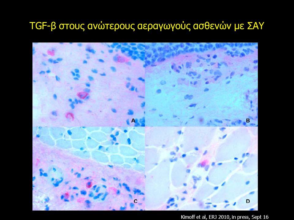 TGF-β στους ανώτερους αεραγωγούς ασθενών με ΣΑΥ Kimoff et al, ERJ 2010, in press, Sept 16