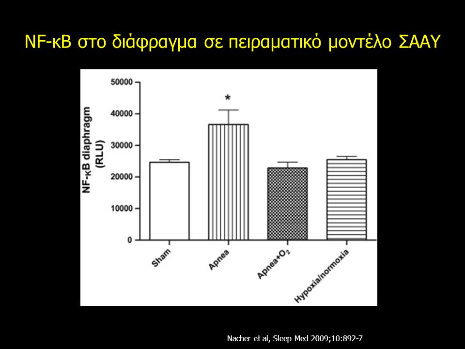 NF-κB στο διάφραγμα σε πειραματικό μοντέλο ΣΑΑΥ Nacher et al, Sleep Med 2009;10:892-7
