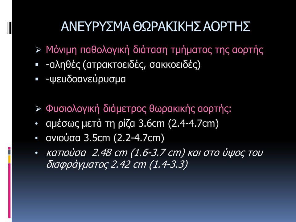 ΑΝΕΥΡΥΣΜΑ ΘΩΡΑΚΙΚΗΣ ΑΟΡΤΗΣ  Μόνιμη παθολογική διάταση τμήματος της αορτής  -αληθές (ατρακτοειδές, σακκοειδές)  -ψευδοανεύρυσμα  Φυσιολογική διάμετ