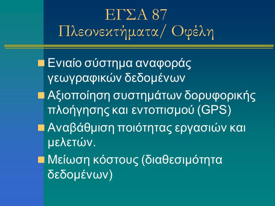 ΕΓΣΑ 87 Πλεονεκτήματα/ Οφέλη Ενιαίο σύστημα αναφοράς γεωγραφικών δεδομένων Αξιοποίηση συστημάτων δορυφορικής πλοήγησης και εντοπισμού (GPS) Αναβάθμιση ποιότητας εργασιών και μελετών.