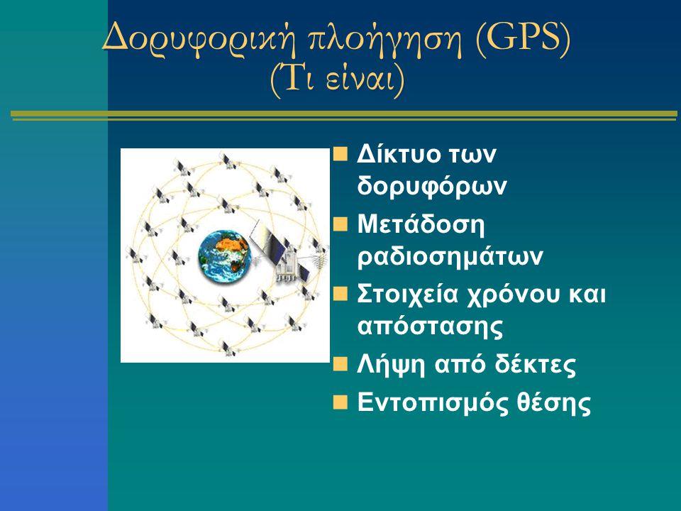 Δορυφορική πλοήγηση (GPS) (Τι είναι) Δίκτυο των δορυφόρων Μετάδοση ραδιοσημάτων Στοιχεία χρόνου και απόστασης Λήψη από δέκτες Εντοπισμός θέσης
