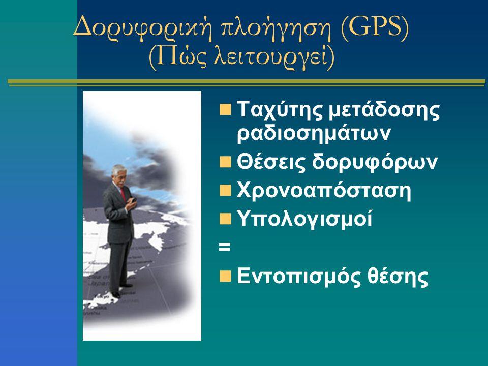 Δορυφορική πλοήγηση (GPS) (Πώς λειτουργεί) Ταχύτης μετάδοσης ραδιοσημάτων Θέσεις δορυφόρων Χρονοαπόσταση Υπολογισμοί = Εντοπισμός θέσης