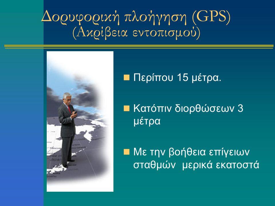 Δορυφορική πλοήγηση (GPS) (Ακρίβεια εντοπισμού) Περίπου 15 μέτρα. Κατόπιν διορθώσεων 3 μέτρα Με την βοήθεια επίγειων σταθμών μερικά εκατοστά