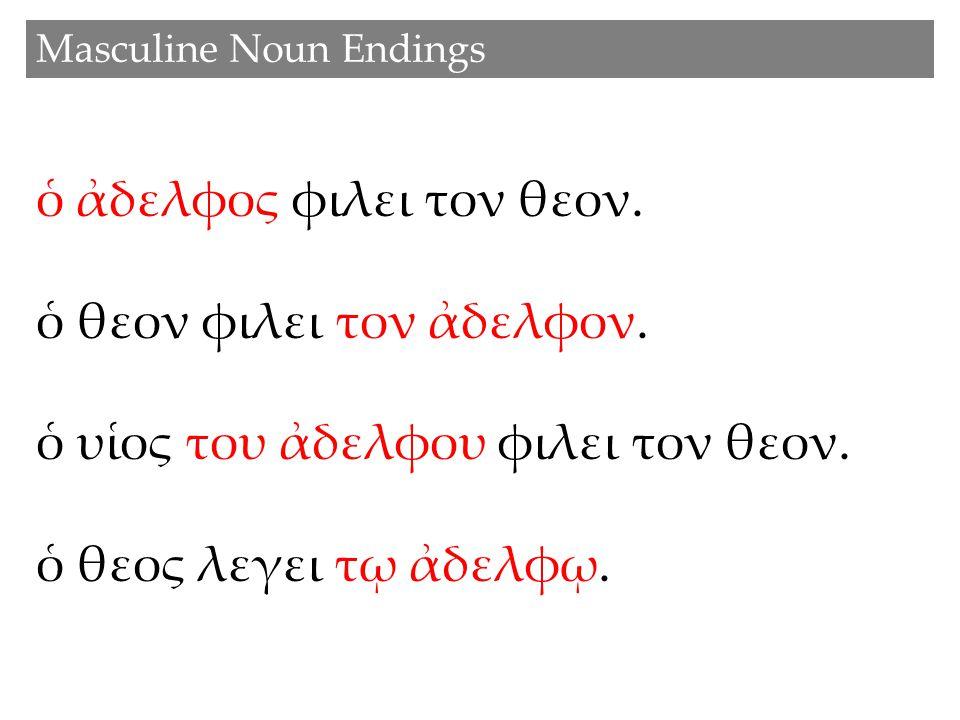 Masculine Noun Endings ὁ ἀδελφος φιλει τον θεον. ὁ θεον φιλει τον ἀδελφον. ὁ υἱος του ἀδελφου φιλει τον θεον. ὁ θεος λεγει τῳ ἀδελφῳ.