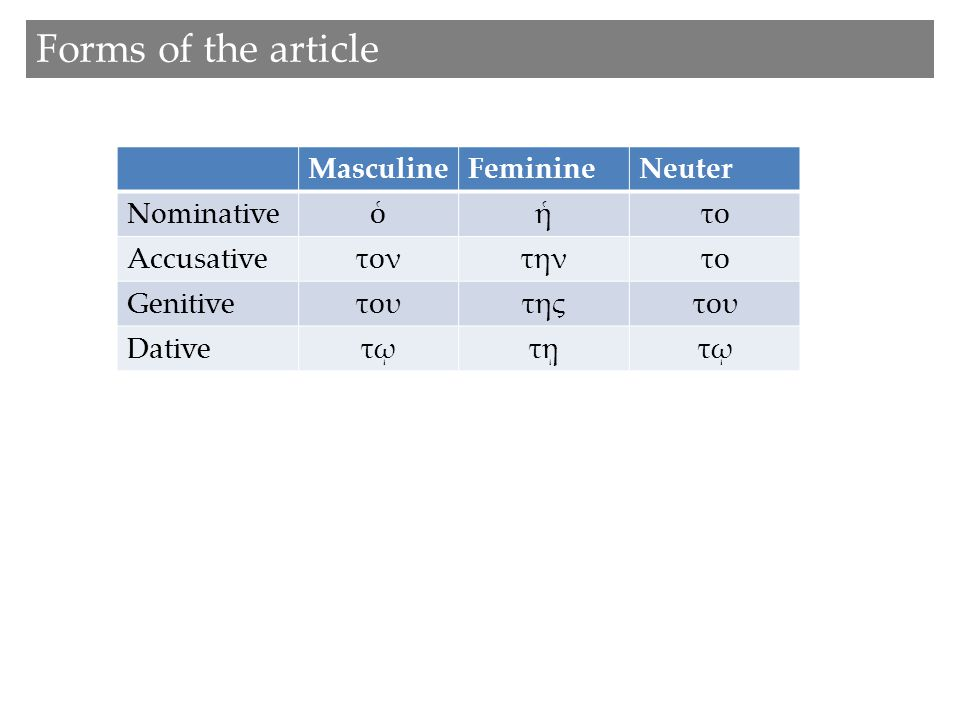 Forms of the article MasculineFeminineNeuter Nominativeὁἡτο Accusativeτοντηντο Genitiveτουτηςτου Dativeτῳτῃτῳ