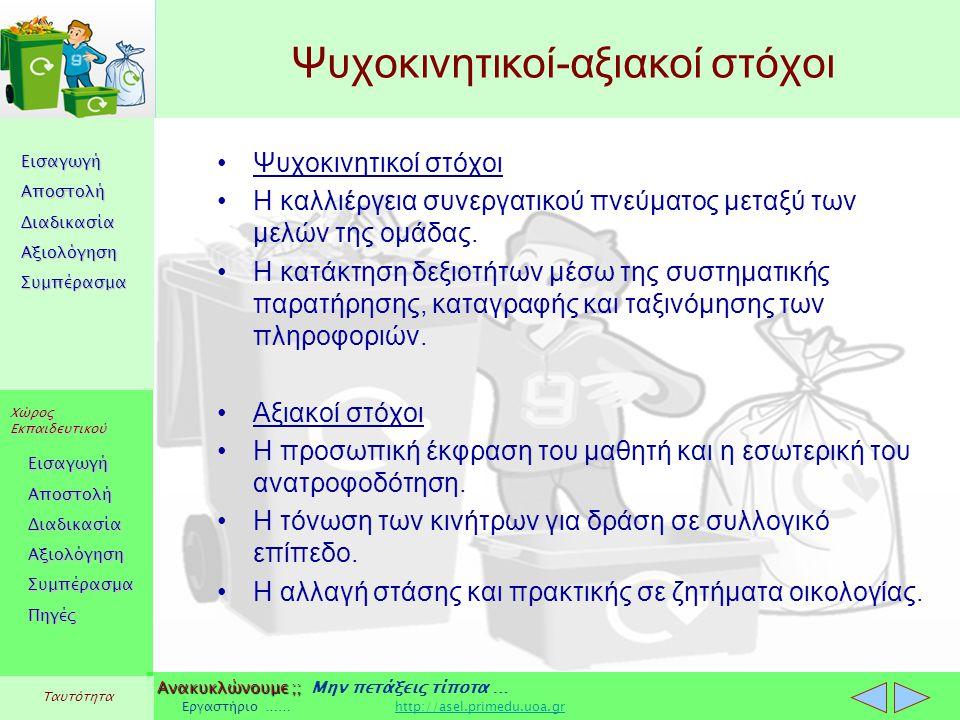 Εισαγωγή Αποστολή Διαδικασία Αξιολόγηση Συμπέρασμα Χώρος Εκπαιδευτικού Εισαγωγή Αποστολή Διαδικασία Αξιολόγηση Συμπέρασμα Ανακυκλώνουμε ;; Ανακυκλώνουμε ;; Μην πετάξεις τίποτα … Εργαστήριο …… http://asel.primedu.uoa.grhttp://asel.primedu.uoa.gr Πηγές Ταυτότητα Ψυχοκινητικοί-αξιακοί στόχοι Ψυχοκινητικοί στόχοι Η καλλιέργεια συνεργατικού πνεύματος μεταξύ των μελών της ομάδας.