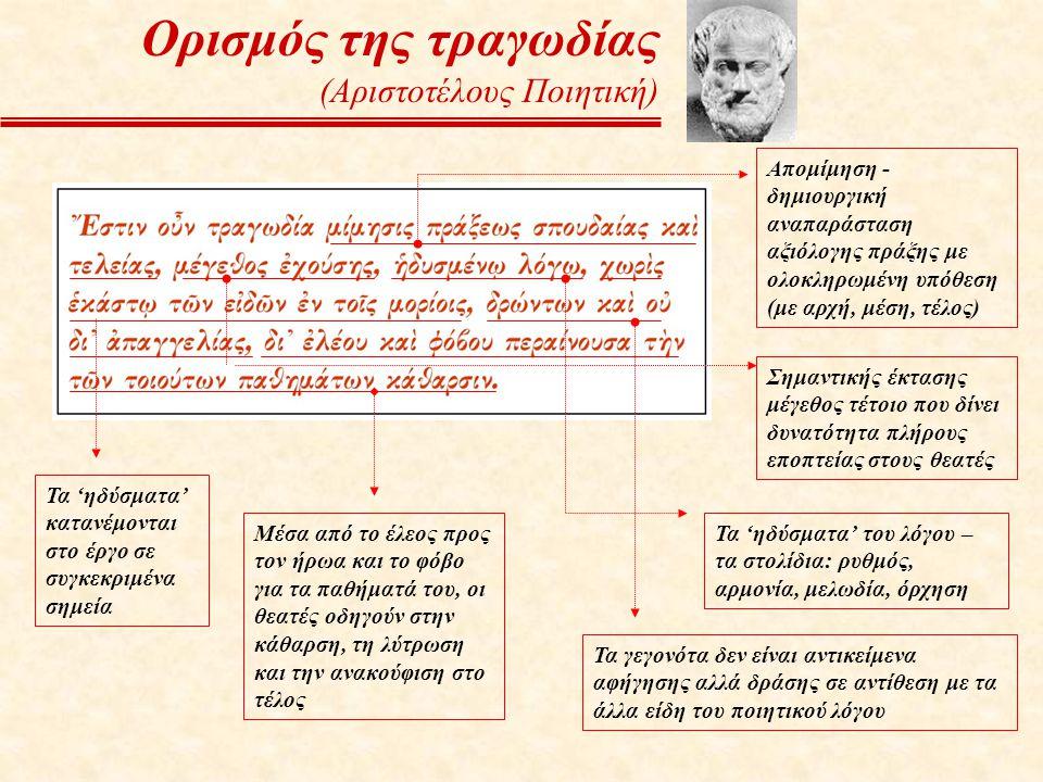 Τα 'ηδύσματα' του λόγου – τα στολίδια: ρυθμός, αρμονία, μελωδία, όρχηση Τα 'ηδύσματα' κατανέμονται στο έργο σε συγκεκριμένα σημεία Τα γεγονότα δεν είν