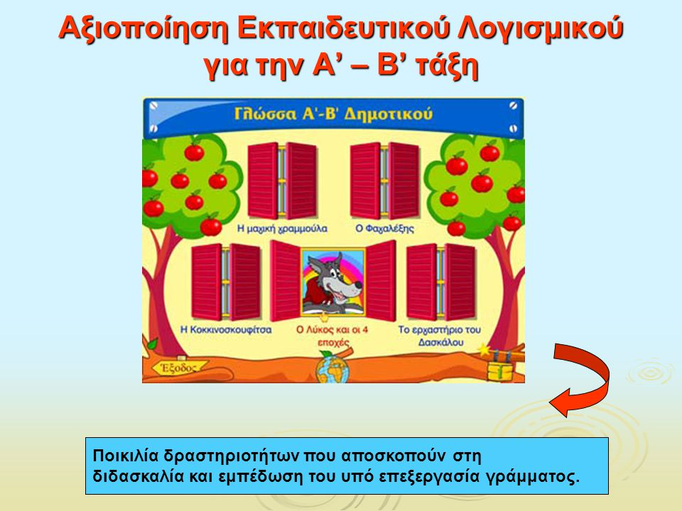 Αξιοποίηση Εκπαιδευτικού Λογισμικού για την Α' – Β' τάξη Ποικιλία δραστηριοτήτων που αποσκοπούν στη διδασκαλία και εμπέδωση του υπό επεξεργασία γράμμα