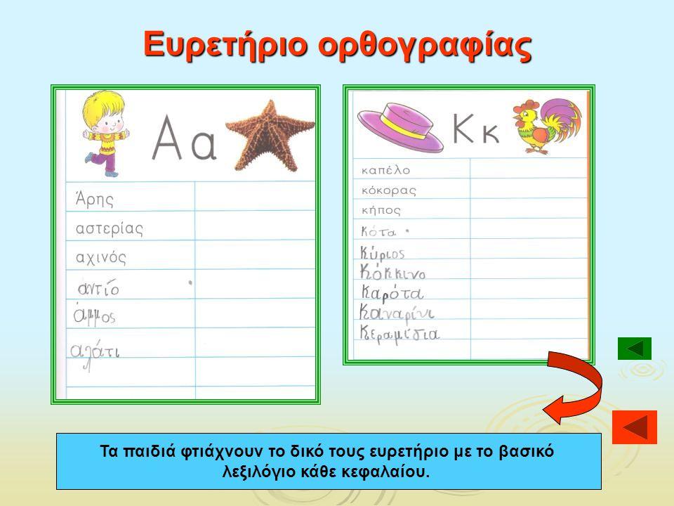 Ευρετήριο ορθογραφίας Τα παιδιά φτιάχνουν το δικό τους ευρετήριο με το βασικό λεξιλόγιο κάθε κεφαλαίου.