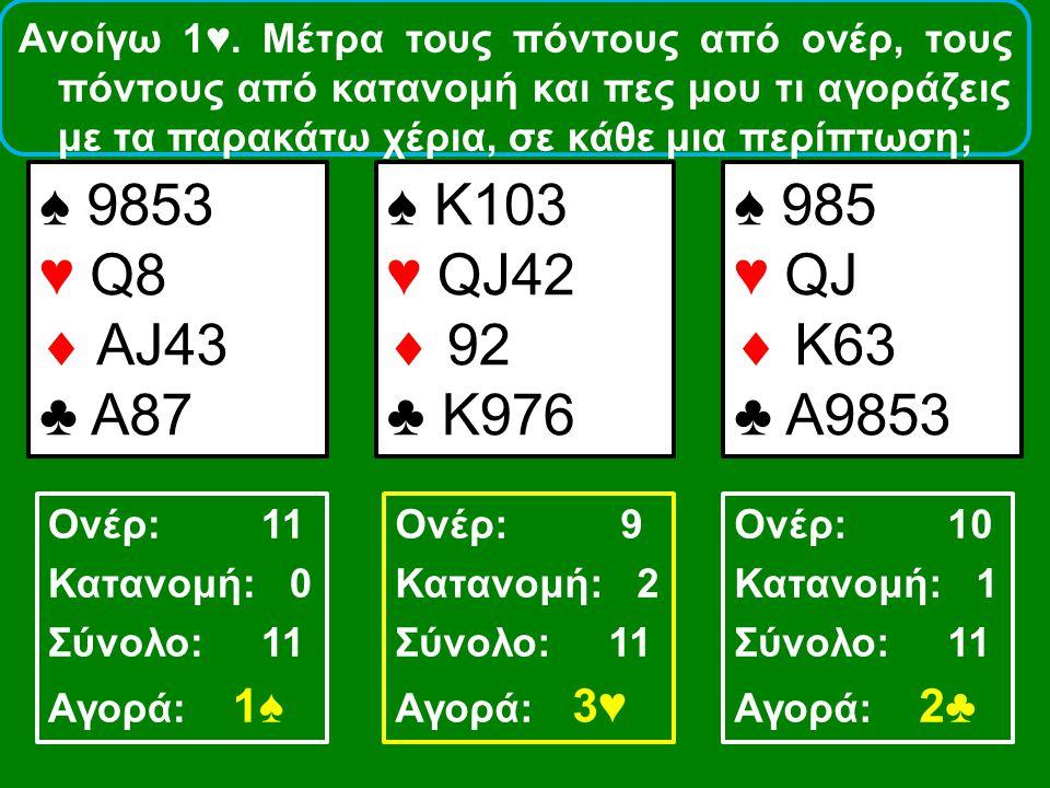 Ανοίγω 1♥. Μέτρα τους πόντους από ονέρ, τους πόντους από κατανομή και πες μου τι αγοράζεις με τα παρακάτω χέρια, σε κάθε μια περίπτωση; ♠ 9853 ♥ Q8 