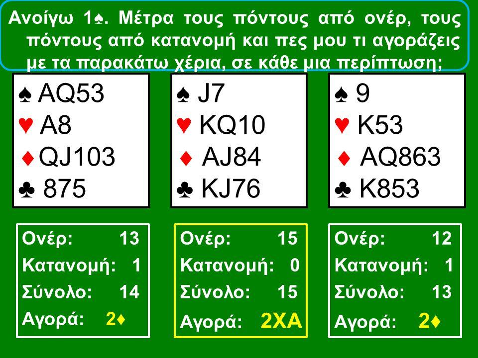 Ανοίγω 1♠. Μέτρα τους πόντους από ονέρ, τους πόντους από κατανομή και πες μου τι αγοράζεις με τα παρακάτω χέρια, σε κάθε μια περίπτωση; ♠ AQ53 ♥ A8 