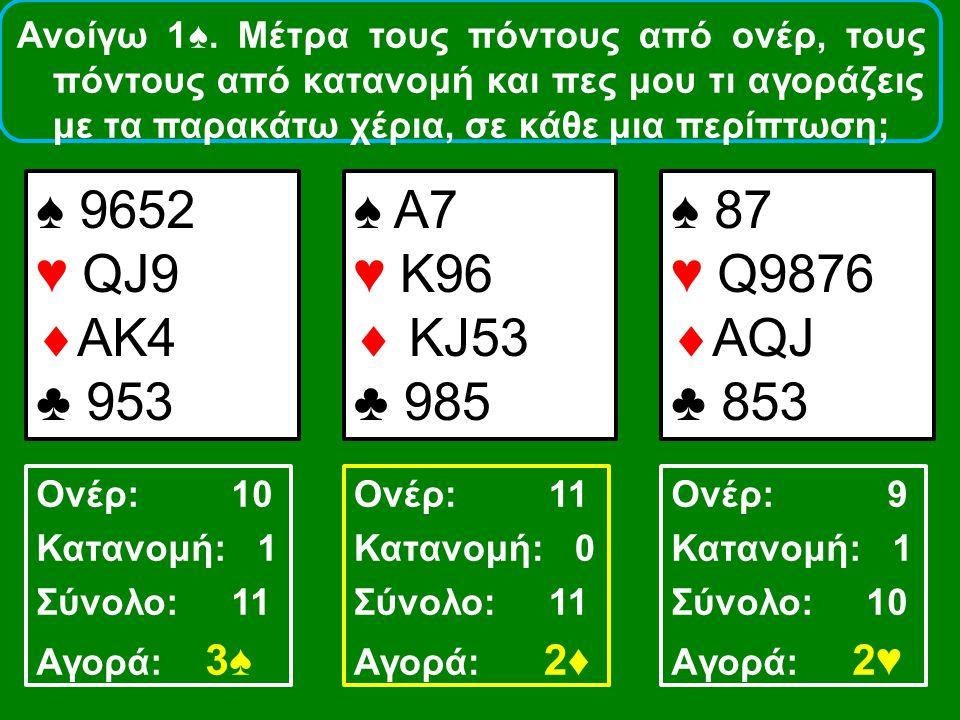 ♠ 9652 ♥ QJ9  AK4 ♣ 953 ♠ A7 ♥ Κ96  ΚJ53 ♣ 985 ♠ 87 ♥ Q9876  ΑQJ ♣ 853 Ονέρ: 10 Κατανομή: 1 Σύνολο: 11 Αγορά: 3♠ Ονέρ: 11 Κατανομή: 0 Σύνολο: 11 Αγ