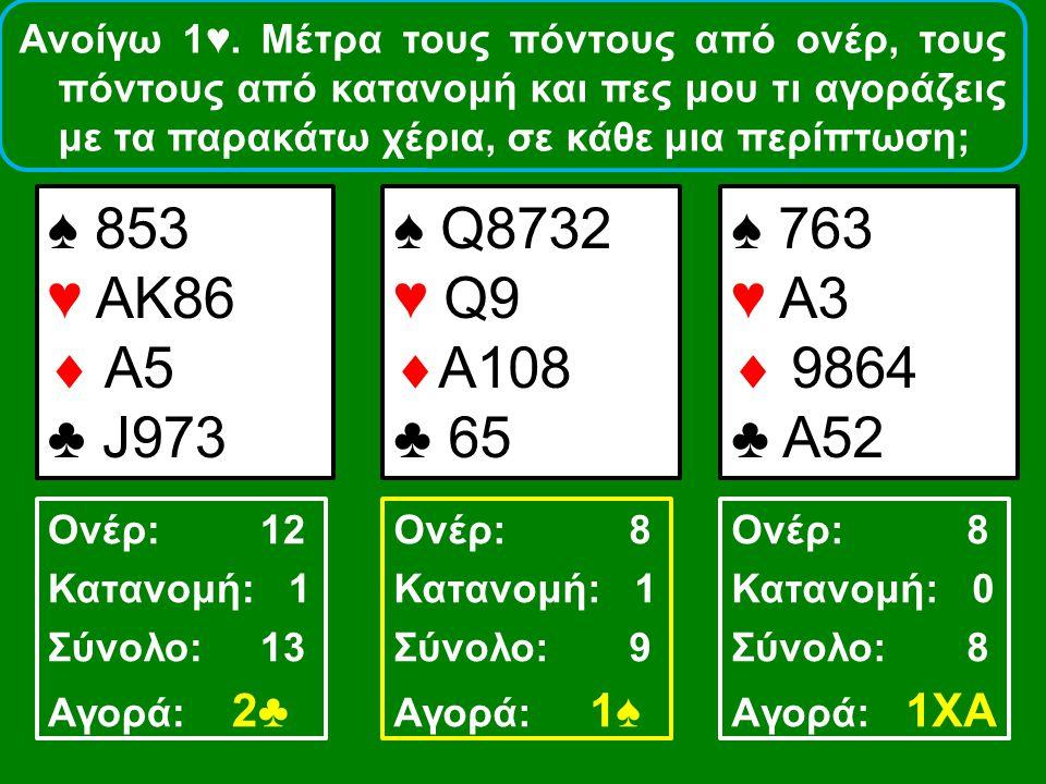 ♠ 853 ♥ ΑΚ86  Α5 ♣ J973 ♠ Q8732 ♥ Q9  A108 ♣ 65 ♠ 763 ♥ A3  9864 ♣ A52 Ονέρ: 12 Κατανομή: 1 Σύνολο: 13 Αγορά: 2♣ Ονέρ: 8 Κατανομή: 1 Σύνολο: 9 Αγορ