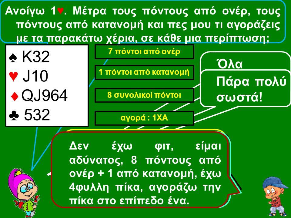 ♠ 9652 ♥ QJ9  AK4 ♣ 953 ♠ A7 ♥ Κ96  ΚJ53 ♣ 985 ♠ 87 ♥ Q9876  ΑQJ ♣ 853 Ονέρ: 10 Κατανομή: 1 Σύνολο: 11 Αγορά: 3♠ Ονέρ: 11 Κατανομή: 0 Σύνολο: 11 Αγορά: 2♦ Ονέρ: 9 Κατανομή: 1 Σύνολο: 10 Aγορά: 2♥ Ανοίγω 1♠.