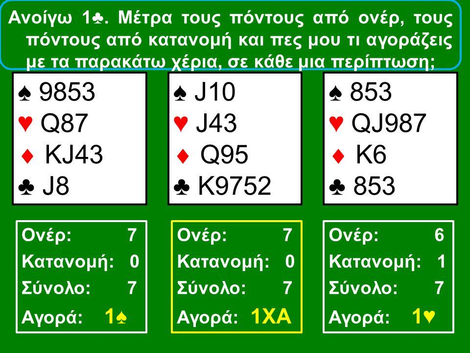 ♠ 853 ♥ ΑΚ86  Α5 ♣ J973 ♠ Q8732 ♥ Q9  A108 ♣ 65 ♠ 763 ♥ A3  9864 ♣ A52 Ονέρ: 12 Κατανομή: 1 Σύνολο: 13 Αγορά: 2♣ Ονέρ: 8 Κατανομή: 1 Σύνολο: 9 Αγορά: 1♠ Ονέρ: 8 Κατανομή: 0 Σύνολο: 8 Aγορά: 1ΧΑ Ανοίγω 1♥.