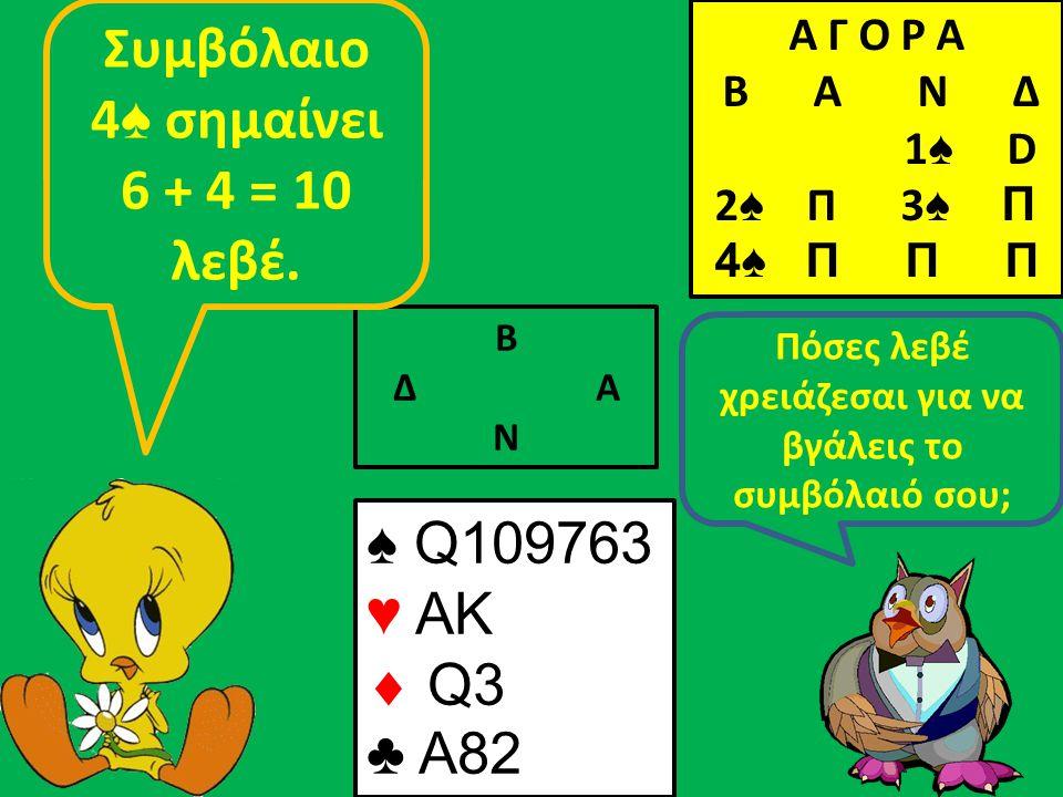 Β Δ Α Ν Πόσες λεβέ χρειάζεσαι για να βγάλεις το συμβόλαιό σου; Συμβόλαιο 4 ♠ σημαίνει 6 + 4 = 10 λεβέ.