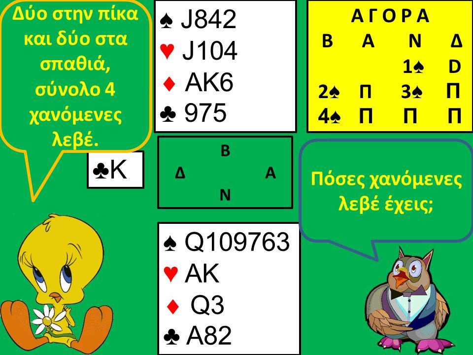 ♠ J842 ♥ J104  AK6 ♣ 975 Β Δ Α Ν ♣Κ♣Κ ♠ Q109763 ♥ AK  Q3 ♣ A82 Πόσες χανόμενες λεβέ έχεις; Δύο στην πίκα και δύο στα σπαθιά, σύνολο 4 χανόμενες λεβέ.