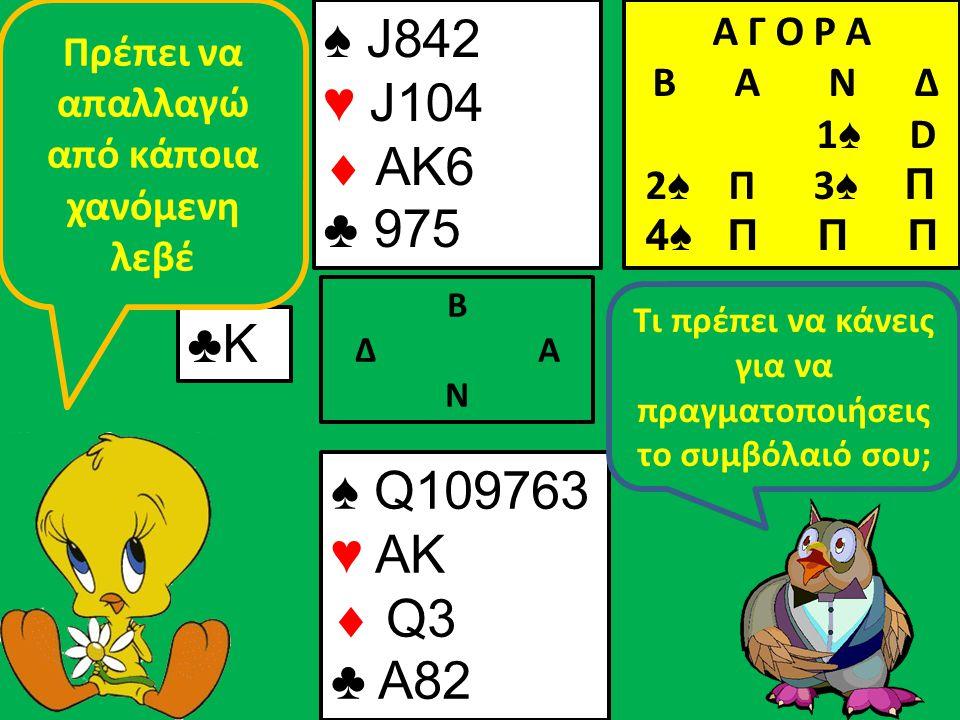 ♠ J842 ♥ J104  AK6 ♣ 975 Β Δ Α Ν ♣Κ♣Κ ♠ Q109763 ♥ AK  Q3 ♣ A82 Τι πρέπει να κάνεις για να πραγματοποιήσεις το συμβόλαιό σου; Πρέπει να απαλλαγώ από κάποια χανόμενη λεβέ Α Γ Ο Ρ Α B Α Ν Δ 1 ♠ D 2 ♠ Π 3 ♠ Π 4♠ Π Π Π