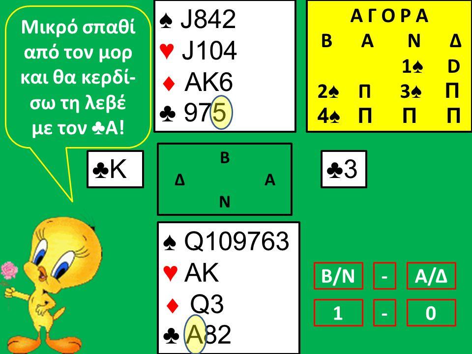 ♠ J842 ♥ J104  AK6 ♣ 975 ♠ Q109763 ♥ AK  Q3 ♣ A82 ♣Κ♣Κ Β Δ Α Ν ♣3♣3 Μικρό σπαθί από τον μορ και θα κερδί- σω τη λεβέ με τον ♣ Α.
