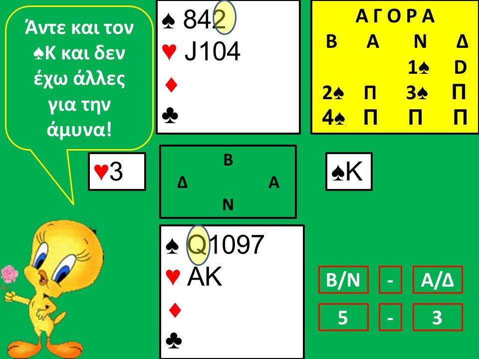 ♠ 842 ♥ J104  ♣ ♠ Q1097 ♥ AK  ♣ ♥3♥3 Β Δ Α Ν ♠K♠K Άντε και τον ♠ Κ και δεν έχω άλλες για την άμυνα.