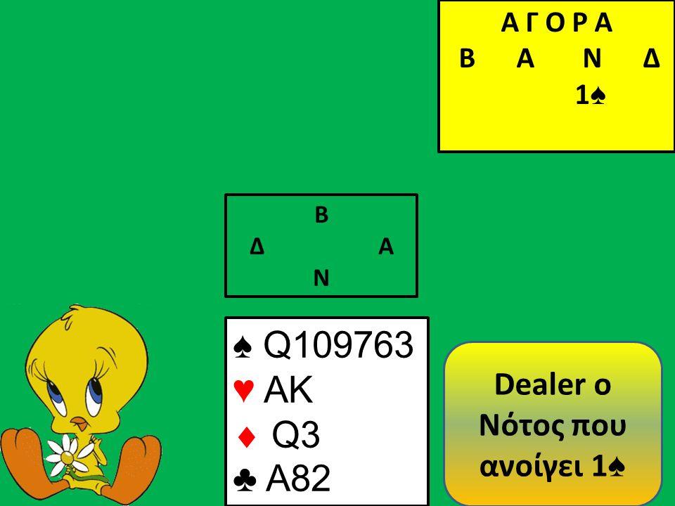Β Δ Α Ν ♠ Q109763 ♥ AK  Q3 ♣ A82 Α Γ Ο Ρ Α B Α Ν Δ 1 ♠ Dealer o Νότος που ανοίγει 1 ♠
