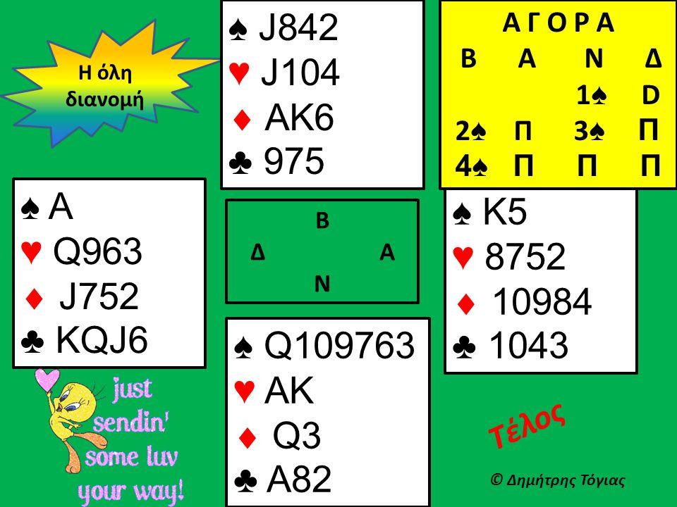 Β Δ Α Ν ♠ A ♥ Q963  J752 ♣ KQJ6 ♠ K5 ♥ 8752  10984 ♣ 1043 Η όλη διανομή © Δημήτρης Τόγιας Τέλος ♠ Q109763 ♥ AK  Q3 ♣ A82 ♠ J842 ♥ J104  AK6 ♣ 975 Α Γ Ο Ρ Α B Α Ν Δ 1 ♠ D 2 ♠ Π 3 ♠ Π 4♠ Π Π Π