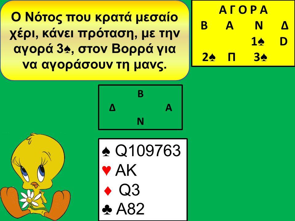 Β Δ Α Ν Ο Νότος που κρατά μεσαίο χέρι, κάνει πρόταση, με την αγορά 3♠, στον Βορρά για να αγοράσουν τη μανς.
