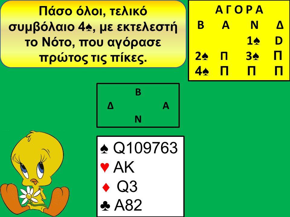 Β Δ Α Ν Πάσο όλοι, τελικό συμβόλαιο 4♠, με εκτελεστή το Νότο, που αγόρασε πρώτος τις πίκες.