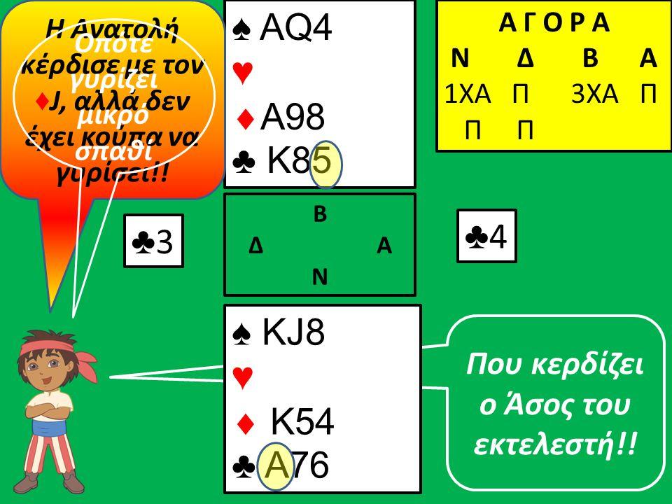 Που κερδίζει ο Άσος του εκτελεστή!! ♣3♣3 ♠ ΚJ8 ♥  K54 ♣ A76 Β Δ Α Ν ♠ AQ4 ♥  A98 ♣ K85 Α Γ Ο Ρ Α N Δ Β Α 1ΧΑ Π 3ΧΑ Π Π Π ♣4♣4 Η Ανατολή κέρδισε με τ
