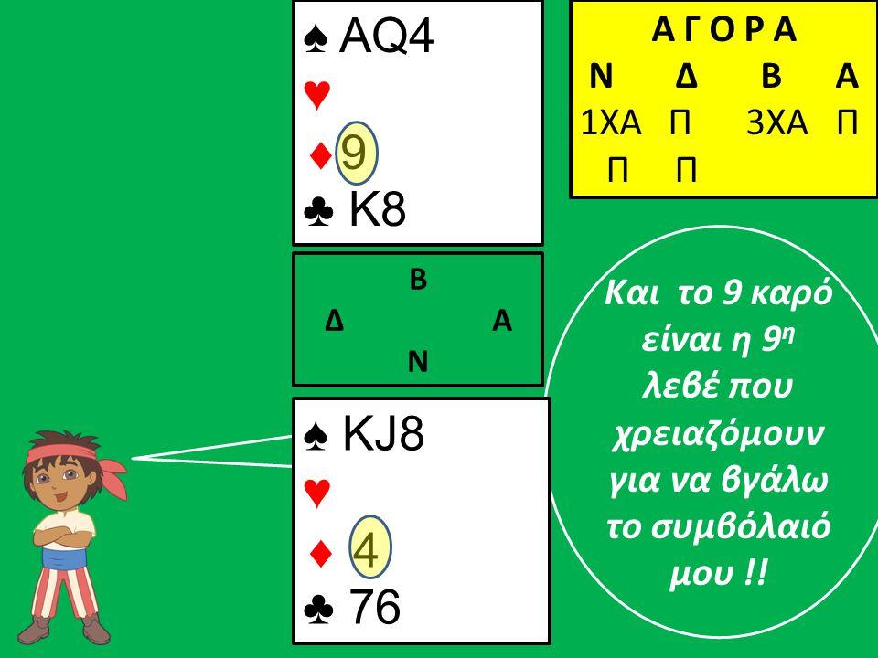 Και το 9 καρό είναι η 9 η λεβέ που χρειαζόμουν για να βγάλω το συμβόλαιό μου !! ♠ ΚJ8 ♥  4 ♣ 76 Β Δ Α Ν ♠ AQ4 ♥  9 ♣ K8 Α Γ Ο Ρ Α N Δ Β Α 1ΧΑ Π 3ΧΑ