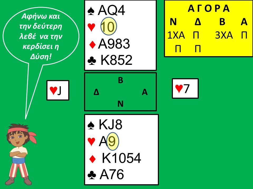 ♥J♥J ♠ ΚJ8 ♥ A9  K1054 ♣ A76 Β Δ Α Ν ♠ AQ4 ♥ 10  A983 ♣ K852 Α Γ Ο Ρ Α N Δ Β Α 1ΧΑ Π 3ΧΑ Π Π Π ♥7♥7 Αφήνω και την δεύτερη λεβέ να την κερδίσει η Δύσ