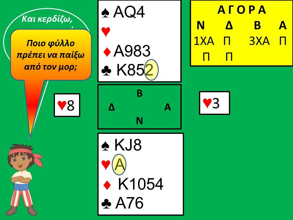 ♥8♥8 ♠ ΚJ8 ♥ A  K1054 ♣ A76 Β Δ Α Ν ♠ AQ4 ♥  A983 ♣ K852 Α Γ Ο Ρ Α N Δ Β Α 1ΧΑ Π 3ΧΑ Π Π Π ♥3♥3 Και κερδίζω, υποχρεωτικά την τρίτη λεβέ με τον ♥Α !